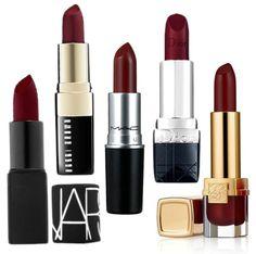 Nars 'Scarlet Empress'   Bobbie Brown 'Blackberry'   MAC 'Dubonnet'   Dior 'Hypnotic Red'   Estée Lauder 'Bitten Fig'