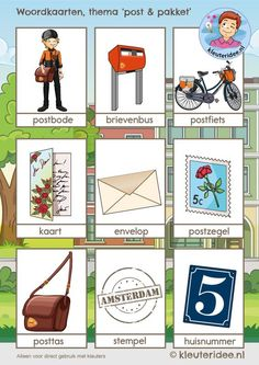 woordkaarten 1, thema post & pakket, kleuteridee, free printable Dramatic Play Themes, Dramatic Play Centers, Dutch Language, Reggio Emilia, Home Schooling, Vocabulary Words, Post Office, Illustrations, Kids Learning