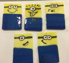 Minion fused glass magnets made by a grade 7 student.