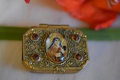 """""""Vintage Pill Box"""" in All Categories Pill Boxes, Red Rhinestone, Virgin Mary, Ruby Red, Emboss, Gold, Vintage, Jewelry, Jewlery"""