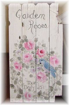 Handpainted Romantic Rose Cottage Fence-Chic romantic cottage fence.  I painted it white89.99added a wreath with sweet roses, buds,  a blue