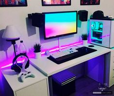 40 Perfect Game Room Ideas Best Video Game Room Ideas [A Gamer's Guide] Tags: Gaming room setup ideas, video game room ide Gaming Desk Setup, Best Gaming Setup, Gamer Setup, Computer Setup, Pc Setup, Deco Gamer, Bedroom Setup, Video Game Rooms, Video Games