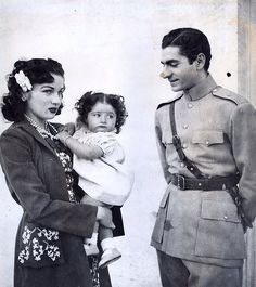 The Shah of Iran, Queen Fawzia and their daughter, Shahnaz.