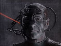 Patrick Stewart as Captain Jean-Luc Picard, after he was transformed into Locutus of Borg in Star Trek: The Next Generation. I inverted the photo reference on the computer, drew the Photo Reference, Drawing Reference, Star Trek Borg, Imperial Dreams, Michael Thompson, Starship Enterprise, The Final Frontier, Star Trek Universe, Concept Art