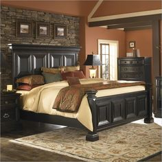 Pulaski Brookfield Panel Bed in Ebony Finish