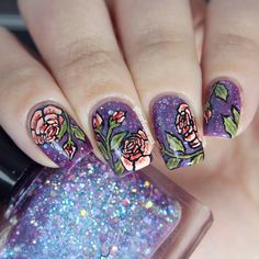 Purple, Coral, and Green Floral Rose Nail Art