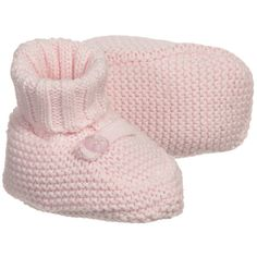ABSORBA Girls Pink Cotton Knitted Baby Bootees