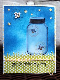 Beautiful inking on Lisa's clever card! Lawn Fawn - Summertime Charm _  Lightning Bugs | Flickr - Photo Sharing!