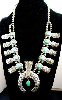 ONE OF A KIND THOMAS TOMMY SINGER OVERLAY SQUASH BLOSSOM NECKLACE W/ TURQUOISE