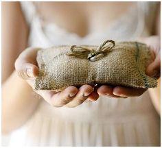 40+ Hessian Wedding Ideas - hessianring cushion / pillow #weddingideas #hessianwedding #rusticweddingideas