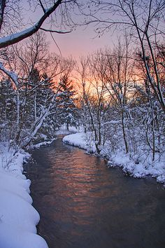 Winter Sunrise over Skaneateles Creek in Upstate Skaneateles NY. http://en.wikipedia.org/wiki/Skaneateles_Creek