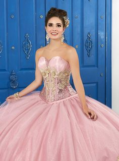 This gorgeous princess ball gown features a decorated bodice with beaded lace applique, exposed boning and allover sequin fabric. The skirt is adorned with metallic lace hem and glitter tulle for a touch of sparkle. by La Glitter Pageant Dresses, Quinceanera Dresses, 15 Dresses, Wedding Dresses, Quinceanera Ideas, Quinceanera Centerpieces, Quinceanera Hairstyles, Prom Hairstyles, Fashion Dresses