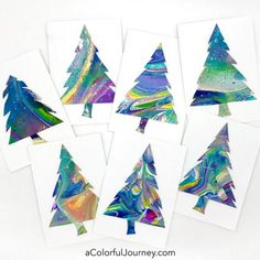 The Christmas Card Plan Didn't Go as Planned - Carolyn Dube Using paint poured canvases to make handmade Christmas cards video by Carolyn Dube Painted Christmas Cards, Watercolor Christmas Cards, Printable Christmas Cards, Christmas Card Crafts, Homemade Christmas Cards, Colorful Christmas Tree, Christmas Cards To Make, Noel Christmas, Christmas Movies