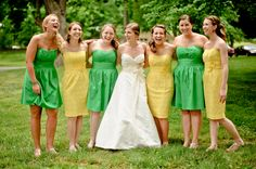LOVE the yellow & green mismatched bridesmaids from Taylor & Stuart's DIY Frederick, MD wedding