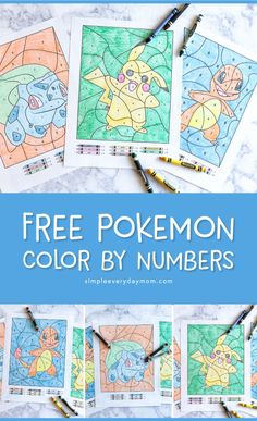3 Free Pokemon Color By Number Printable Worksheets Color By Number Printable Pokemon Coloring Pokemon Coloring Pages
