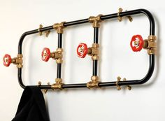 The Coat Rack Pipework Series by Nick Fraser straddles industrial design and modern aesthetics brilliantly. A rather cheeky design made of parts typically Fireman Room, Firefighter Room, Fireman Nursery, Volunteer Firefighter, Fire Truck Bedroom, Diy Coat Rack, Coat Racks, Coat Hanger, Towel Hanger