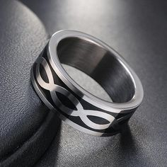 Men Fashion 12MM Stainless Steel Pebble Patterned Ring