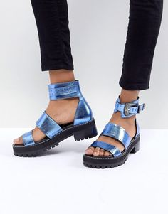 ASOS | ASOS DESIGN Foxglove Premium Leather Gladiator Flat Sandals