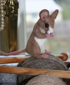 Life Size Tan Yarn Mouse. Great for Yarn Baskets 100 percent Alpaca Needle Felted