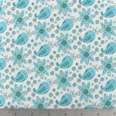Aqua Floral Paisley on White Fabric