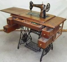 Sewing Machine Tables: Singer Sewing Machine Table Antique White ...