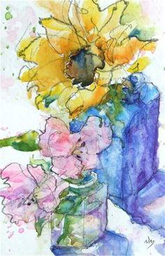 "Daily Paintworks - ""under the sun"" - Original Fine Art for Sale - © Nora MacPhail Watercolor Pictures, Pen And Watercolor, Abstract Watercolor, Watercolour Painting, Watercolor Flowers, Painting & Drawing, Watercolors, Art Plastique, Flower Art"