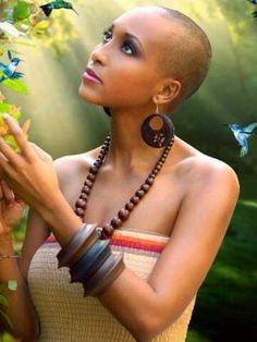 Nice Short Haircuts for Black Women. The first thing that you deal with in the morning is your hair. Especially if you have really thick and strong hair Nice Short Haircuts, Short Hair Cuts, Kenyan Artists, Bald Look, Curly Hair Styles, Natural Hair Styles, Natural Beauty, Super Short Hair, Bald Girl