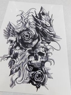 Just a cool temporary tattoo Vine Tattoos, Skull Tattoos, Temp Tattoo, In The Zoo, Bad Hair, Black And Grey Tattoos, Mythical Creatures, Temporary Tattoos