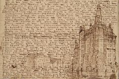 A sketch of a tall building drawn from Branwell Brontë's imagination English Literature, Classic Literature, Bronte Sisters, Book Lovers, New Books, The Darkest, Handwriting Samples, Bring It On, Lighting