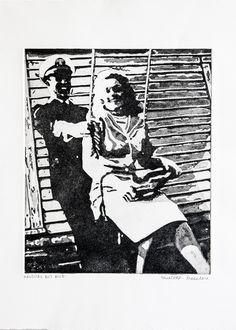 """Nautical but Nice"" Grandparents, WWII, Intaglio Print"