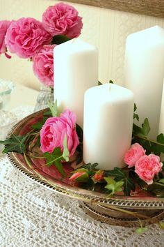 So simple, so lovely - candles, roses and ivy on a silver tray
