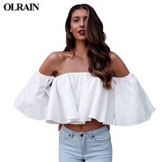 >> Click to Buy << Olrain 2017 Summer Fashion Women Beach Casual Off Shoulder T Shirts Loose Butterfly Sleeve Cotton Slash Neck Tops Solid Color #Affiliate
