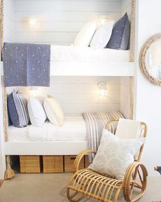An inspired home collection. Luxury bedding, furniture, décor, nursery and more. Beach House Bedroom, Beach House Decor, Home Bedroom, Bedroom Decor, Home Decor, Beach Cottage Style, Bunk Bed Sets, Bunk Bed Rooms, Bunk Beds