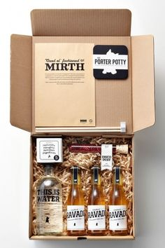 Mirthful Christmas Party Kit - create your own by including a set of craft beers, handmade coasters and vials of glitter and confetti gift packaging 38 Best DIY Food Gifts Packaging Box, Pretty Packaging, Brand Packaging, Packaging Design, Beverage Packaging, Party Kit, Craft Bier, This Is Water, Bijou Box