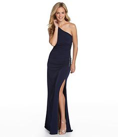 Laundry by Shelli Segal Side-Beaded One-Shoulder Gown | Dillard's Mobile