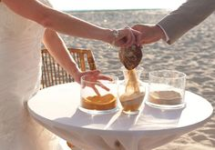 Use seashells during the ceremony for a beachy feel