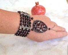 Купить Гранатовый браслет - бордовый, браслет из камней, Гранатовый браслет, слейв-браслет, Камни натуральные