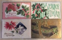 Nice Lot-of-4-Early-Vintage-Christmas-Heavy Embossed-Airbrushed-Postcards-p14 #Christmas
