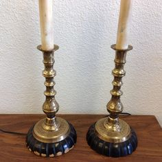Vintage Lamps Brass and Wood Candlestick by RetroResaleSanDiego