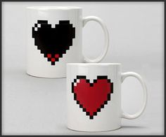 """8-bit heart mug that """"replenishes"""" with a hot beverage. what."""