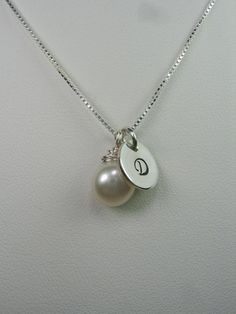 Bridesmaid Jewelry - Set of 6 - Monogram Bridesmaid Necklace - Button Pearl Initial Necklaces