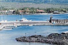 Kona Bay South 1961 — Kailua Bay on the Kona Coast of the Big Island, looking towards the red-roofed Kona Inn. Vintage slide marked Nov 61.   Flickr Photo Sharing