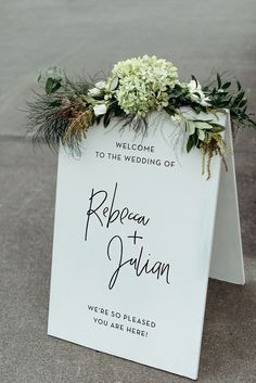 Black and White Modern Script Wedding Welcome Sign with Greenery // wedding details, outdoor ceremony, wedding ceremony, summer Rustic Wedding Signs, Wedding Welcome Signs, Wedding Signage, Chic Wedding, Wedding Venues, Wedding Day, Trendy Wedding, Wedding Reception, Wedding Sites