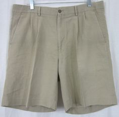 Allen Flusser Shorts Size 38 Casual 38x8 1/2 Pleated Front Tan Free Shipping #AllenFlusser #CasualShorts