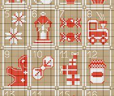 *Calendrier de Noël au point de croix, free* Cross Stitching, Cross Stitch Embroidery, Embroidery Patterns, Christmas Cross, Xmas, Christmas Ornaments, Cross Stitch Designs, Cross Stitch Patterns, Diy Crochet