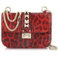 Leopard-print dyed calf hair structured shoulder bag with platinum tone woven chain adjustable shoulder strap that loops through top ring de. Valentino Garavani, Valentino Red, Valentino Designer, Cute Purses, Purses And Bags, Valentino Trainers, Animal Print Shoulder Bags, Structured Handbags, Valentino Handbags