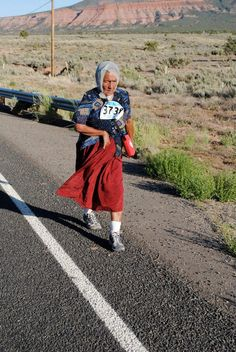 """Navajo elder participating in the Shiprock, NM """"Just Move It"""" Event~"""