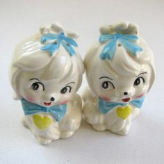 Please Reserve for Tinamoo, Vintage Fru Fru Salt and Pepper Shakers, Dogs, Kitch, Shabby Chic, Cottage Decor, Animals