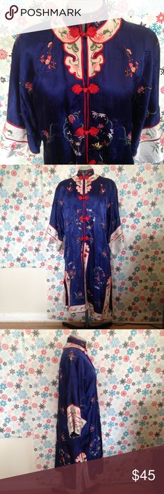 Blue kimono Blue kimono with white trim and floral embroidery. Rayon and dry clean only. Worn once. smithsonian institution Intimates & Sleepwear Robes