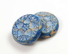 Blue Rustic Beads in matched pair, distressed tribal boho, polymer clay bead pair